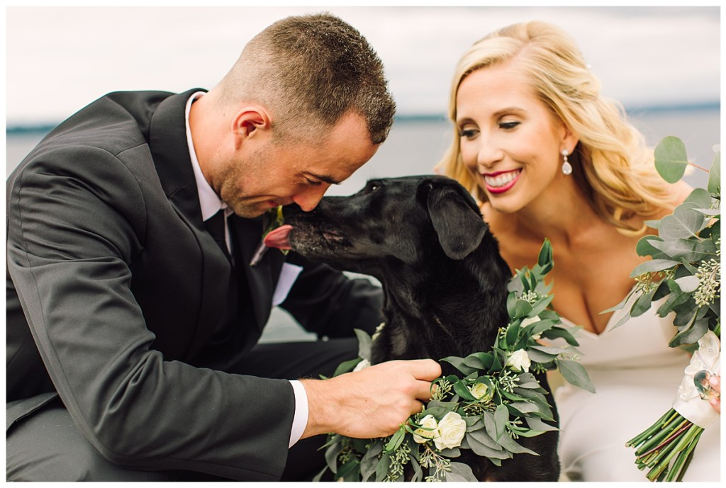 Congratulations to Elena + Travis as they celebrate their wedding day with their dog, Aspen.