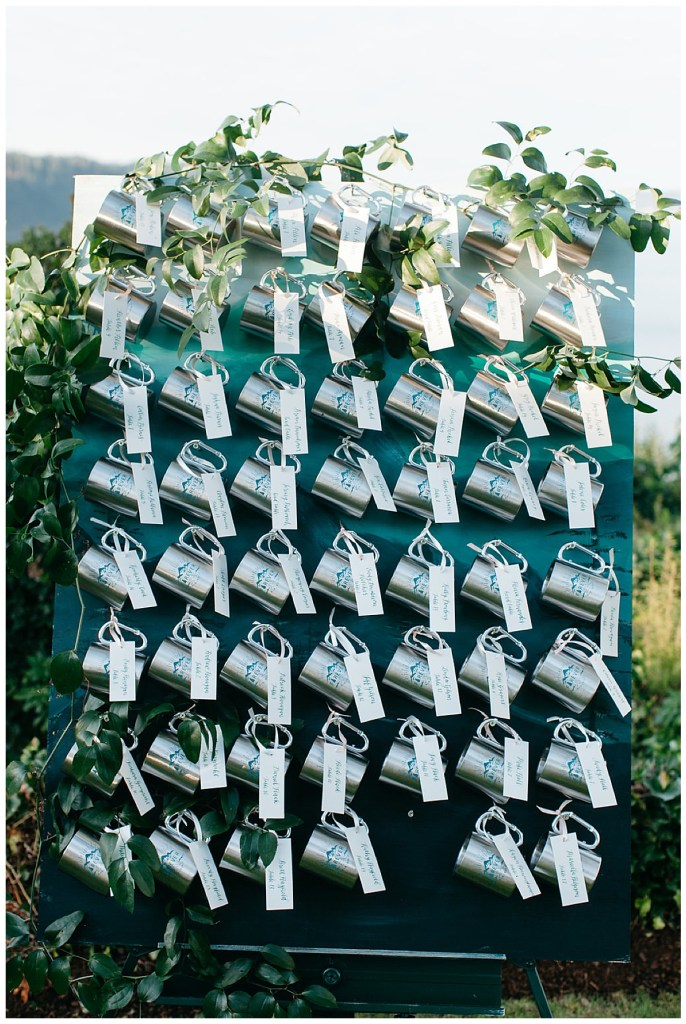 Wall of wedding favors.