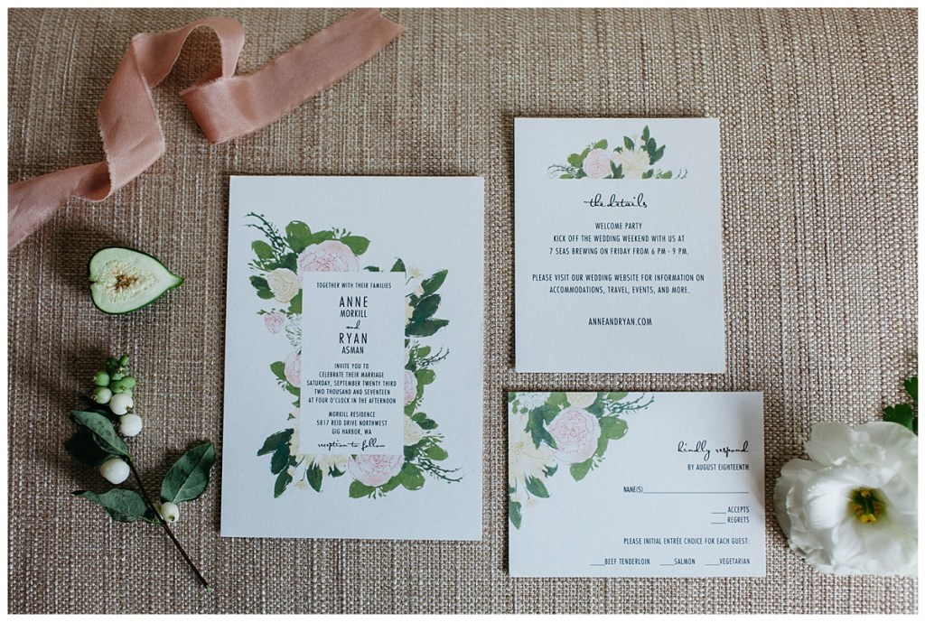 Blush, white floral and greenery wedding invitation suite.
