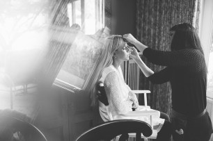 Edgewater House Wedding, Gig Harbor, WA | Bride getting ready in black and white photo | Seattle Wedding Planner, Perfectly Posh Events | Mike Fiechtner