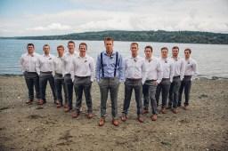 Edgewater House Wedding, Gig Harbor, WA | Beachfront wedding photo ideas for groomsmen | Seattle Wedding Planner, Perfectly Posh Events | Mike Fiechtner Photography