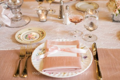 Thornewood Castle Wedding in Seattle | Blush and lace tablescape with fine china and gold flatware | Perfectly Posh Events, Seattle Wedding Planner | Stephanie Cristalli Photography