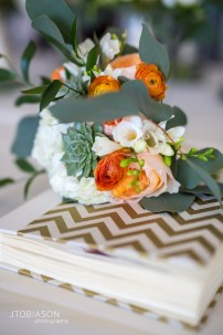 Seattle Tennis Club wedding in Seattle |Bridesmaid bouquet with orange and white flowers with succulents and greenery | Perfectly Posh Events, Seattle Wedding Planner | JTobiason Photography | Sublime Stems