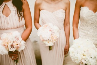 DeLille Cellars wedding in Woodinville | Blush bridesmaids gowns with blush and white bouquets | Perfectly Posh Events | Seattle Wedding Planner | Andria Lindquist Photography | Butter & Bloom