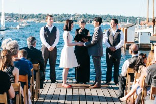 Center for Wooden Boats wedding in Seattle | Seattle marina boat dock ceremony | Perfectly Posh Events, Seattle Wedding Planning | Kathryn Moran Photography