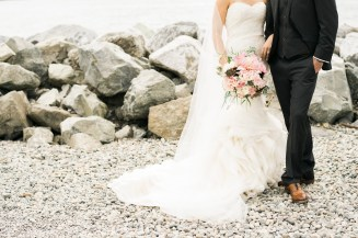 Bride and groom with blush and burgondy flowers | Sodo Park Wedding in Seattle | Wedding Planning and Design by Seattle Wedding Planner Perfectly Posh Events | Kimberly Kay Photography | Floressence
