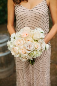 Bridesmaids in champagne and gold floor-length long bridesmaid dresses, DeLille Cellars wedding in Woodinville, White and pink wedding bouquets by Flora Nova, Wedding Planning by Huoy with Perfectly Posh Events