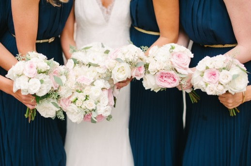 Navy, white and light pink wedding color and navy bridesmaid dresses, Allison Dan Woodinville Wedding by Perfectly Posh Events, Photo by Blue Rose Photography