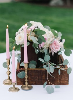 Pink taper candles with wedding centerpiece, Woodinville wedding planning and design, Allison Dan Woodinville Wedding by Perfectly Posh Events, Photo by Blue Rose Photography