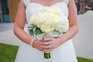 Same Sex Seattle Wedding | White hydrangea and ivory rose bridal bouquet | Perfectly Posh Events, Seattle Wedding Planner | Josh Lewis Photography