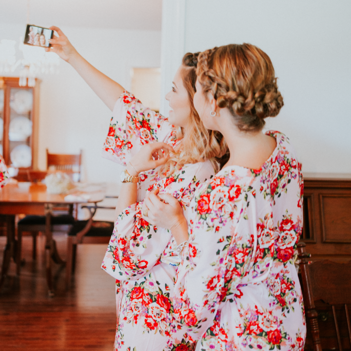 Our work: bridesmaids with updos take a selfie