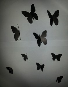 used  darer chart paper for this step as the stencils were not same black clock and plastic butterflies also diy today  time flies theme wall perfectlypositive rh wordpress