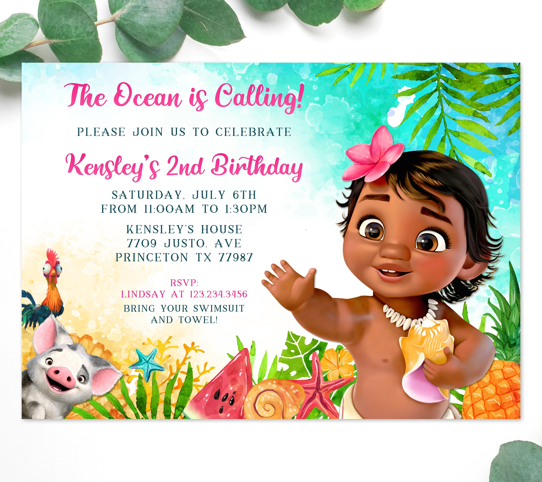 https perfectpartyprints com product baby moana 1st birthday invitation
