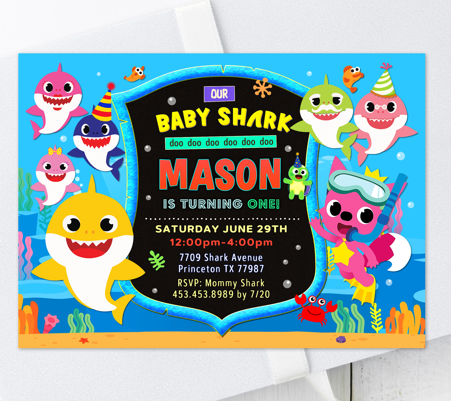 baby shark birthday invitation for boy