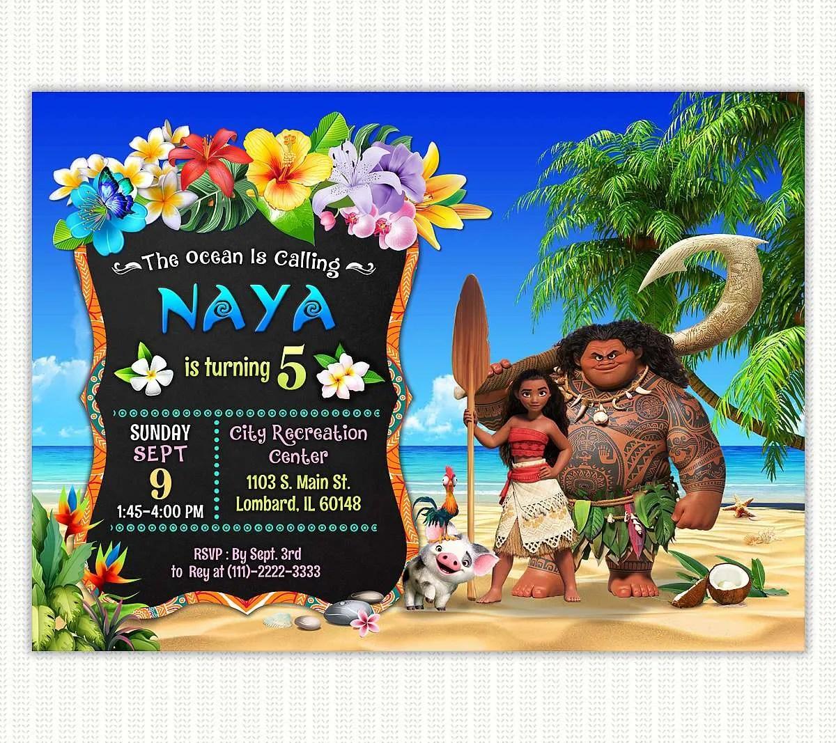 invitation for moana birthday party