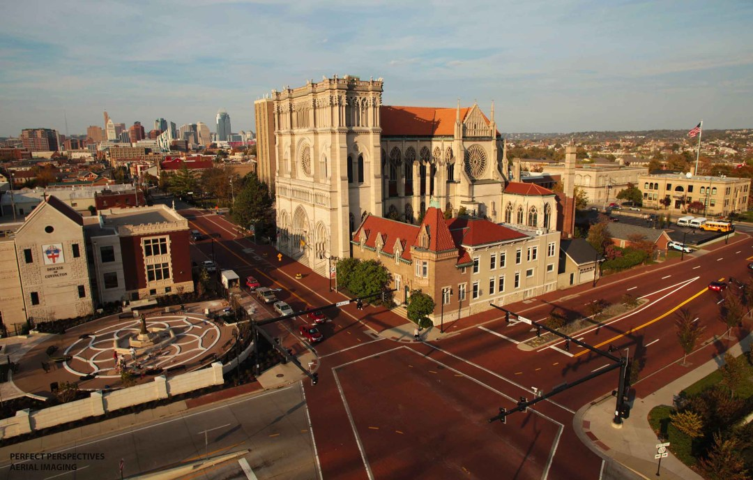 Aerial Drone Photo of Cathedral Basilica of the Assumption Covington Kentucky