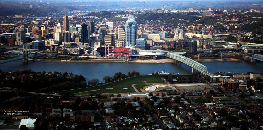 Panoramic Cincinnati Aerial Photo - Downtown View From Covington/Newport Kentucky