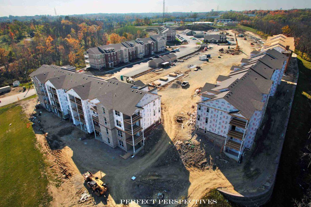 Drone Aerial Photography of Apartment Complex Construction in Cincinnati Ohio