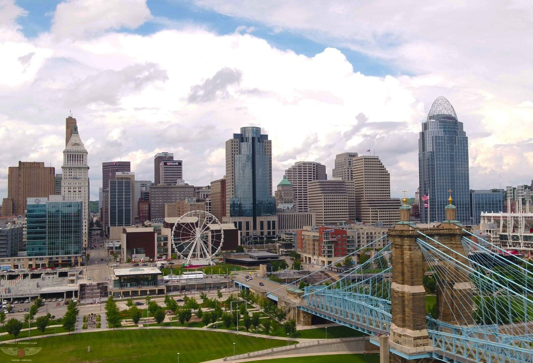 Cincinnati Drone Photo of Smale Park with new Skystar Ferris Wheel