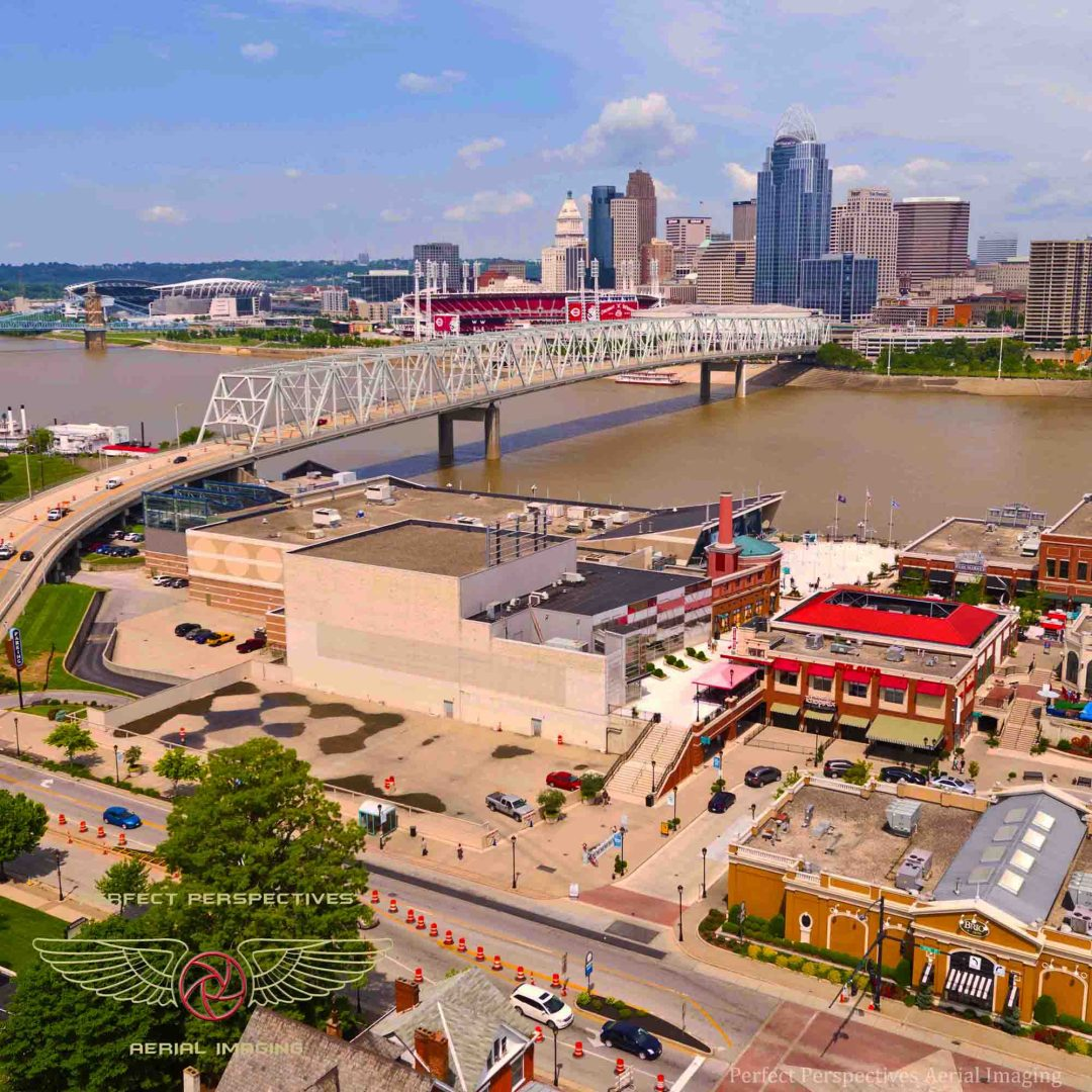 Cincinnati Drone Photo - View From Newport on the Levee
