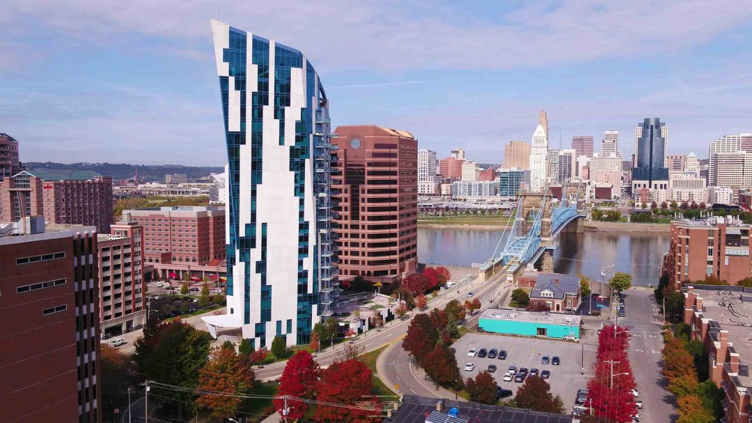 Colorful Cincinnati Drone Shot of Ascent Tower and Roebling Bridge