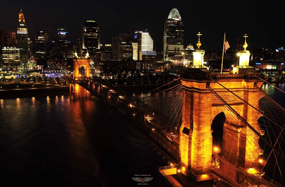 Cincinnati At Night - Drone Photo of Roebling Bridge and Downtown