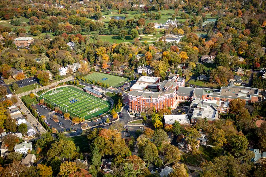 Colorful Cincinnati aerial photo of Summit High School in Fall