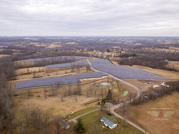 Solar Array Construction Progress Drone Aerial Photo
