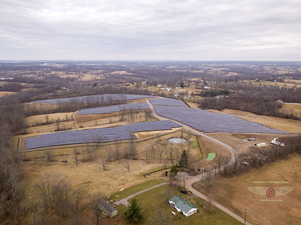 Solar Array Construction Progress Drone Aerial Photo in Kentucky