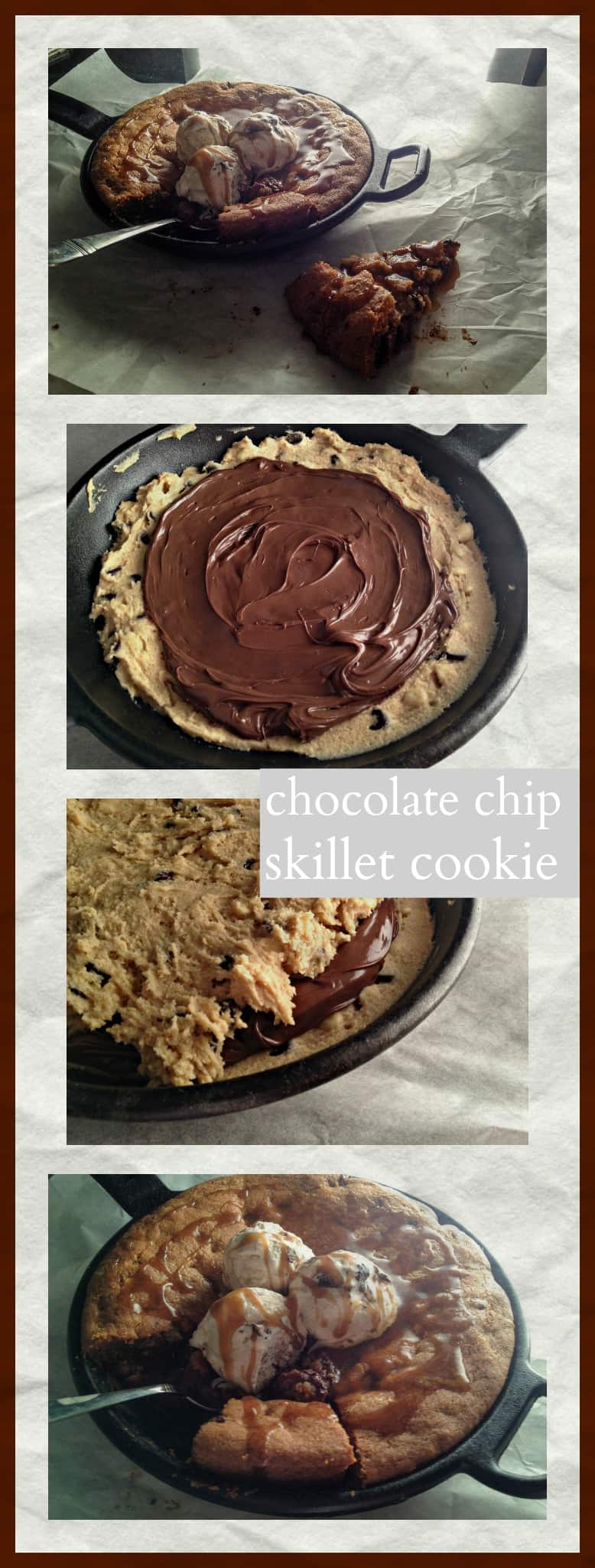 A Chocolate Chip Skillet Cookie stuffed with Nutella? Heck yeah! I'm all about any kind of chocolate chip cookie and these cookie recipes are really popular right now and why not? What an awesome idea, a huge chocolate chip cookie, smothered in ice cream and every kind of chocolate sauce and butterscotch sauce - heavenly right?