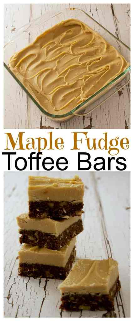 A chewy chocolate toffee bar smothered in yummy Maple Fudge! An easy no-bake maple fudge recipe that will disappear right before your eyes! Guaranteed!