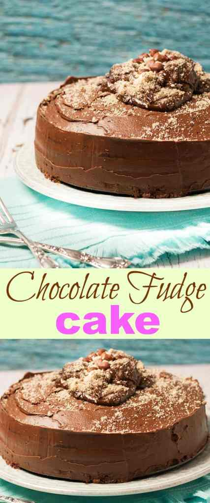 "This Chocolate Fudge Cake is an easy recipe that's perfect for those ""I MUST HAVE CHOCOLATE!"" kinda days! Covered in yummy chocolate butter cream of course!"