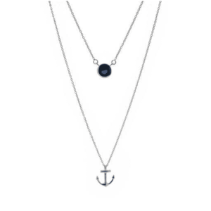 silver double drop necklace