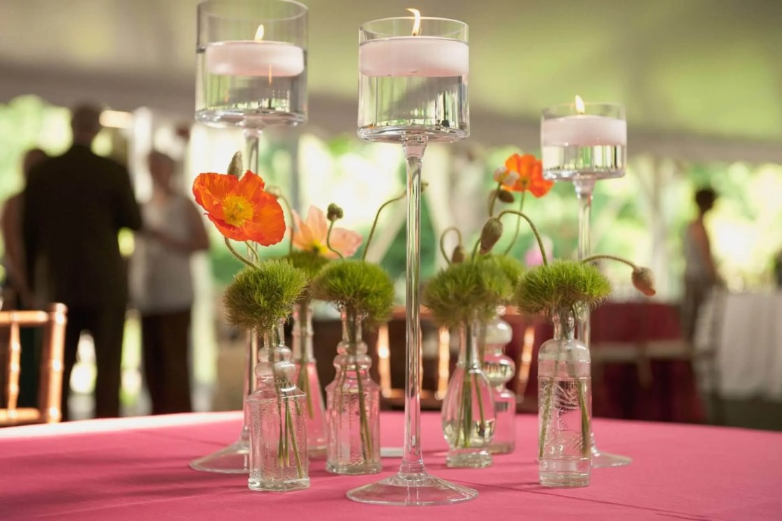 Perfect Setting Catering Company | Berwyn PA | Beautiful Table Centerpiece With Guests in the Background