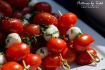 Skewered Teardrop Tomatoes, Fresh Mozzarella & Basil