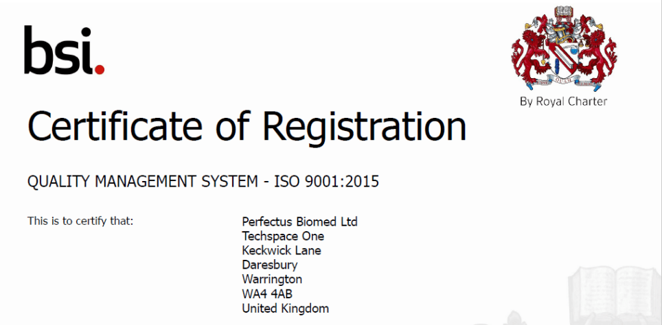 Perfectus Biomed successfully maintain ISO 9001:2015 certification
