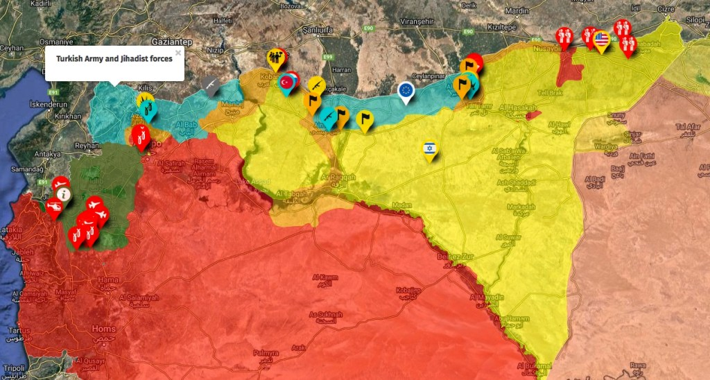 Interactive Syrian Civil War Map from https//syriancivilwarmap.com/