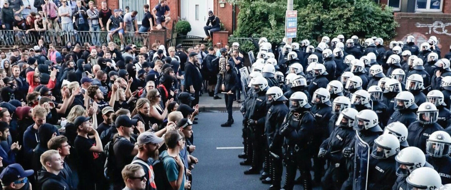 Demonstrators face of with police at the g-20 Summmit in Hamburg, Germany