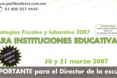 Estrategias fiscales y laborales 2007 PARA INSTITUCIONES EDUCATIVAS
