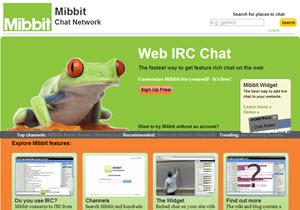 Mibbit - sistema de chat online con múltiples canales irc
