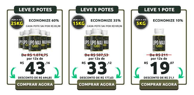 Preços do Lipomax Turbo