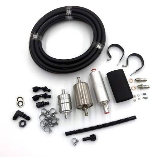 small resolution of inline fuel pump kit without return line with fuel cuff aa99 pi speedshops