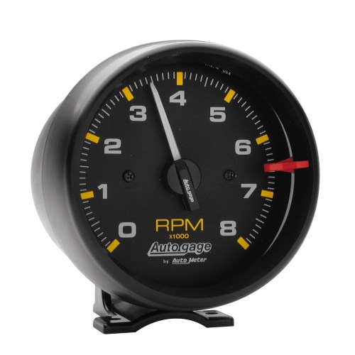 small resolution of gauge tachometer 3 3 4in 8k rpm pedestal blk dial blk case autogage