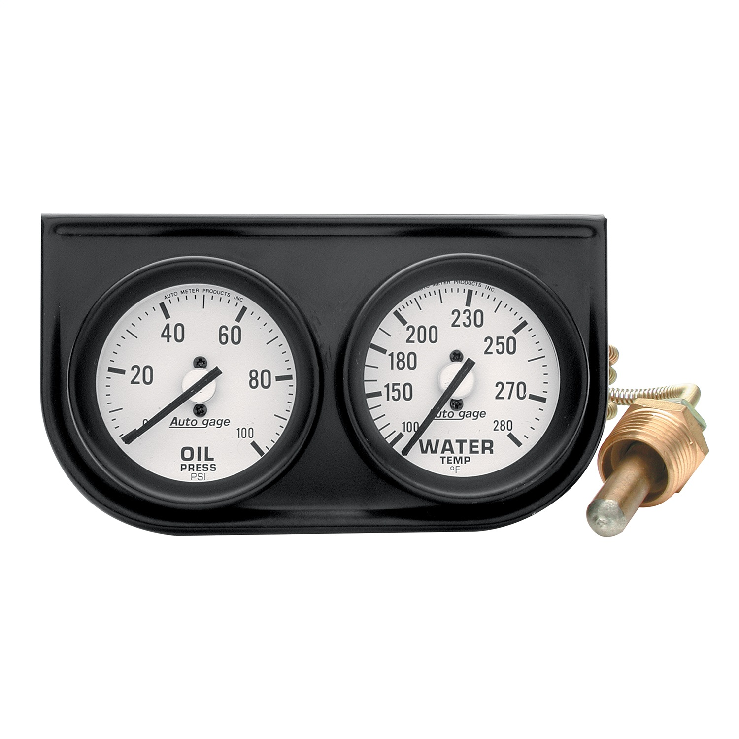 hight resolution of oil pressure water temp 2 in gauge console 100psi 280deg f white dial black bezel autogage
