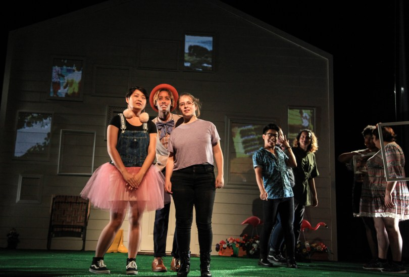 (front, l to r) Sandy Nguyen, Jasmine Smith, Bex Ehrmann, Jimbo Pestano and the cast of AD HOC [HOME], written and performed by the About Face Youth Theatre Ensemble and directed by Ali Hoefnagel and Kieran Kredell. Photo by Emily Schwartz.