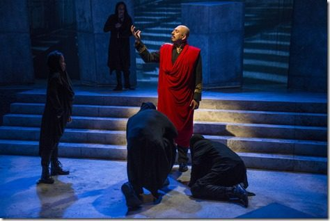 Madrid St. Angelo and cast in JULIUS CAESAR at Writers Theatre. Photo by Michael Brosilow.