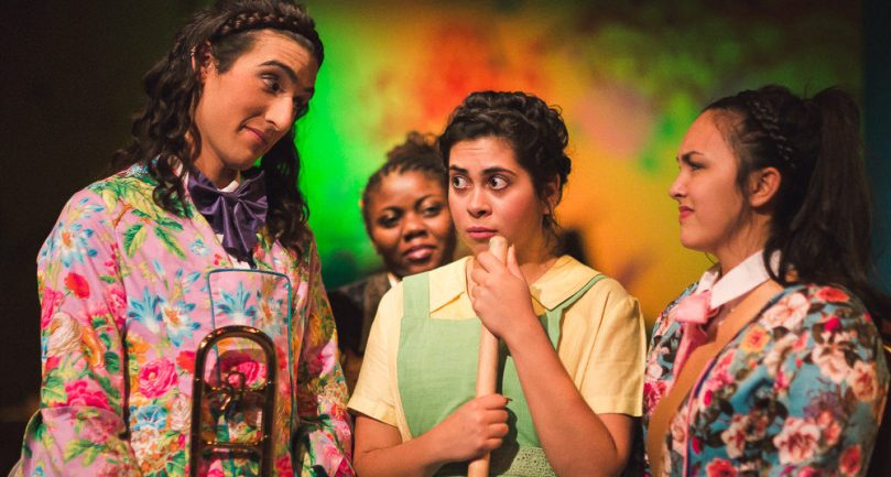 (l-r) Elle Walker, Leslie Ann Sheppard, Amanda Raquel Martinez, Aja Wiltshire in the Hypocrites' World premiere adaptation of Cinderella at the Theater of Potatoes adapted by Andra Velis Simon, directed by Sean Graney. Photo by Joe Mazza.