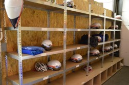Storage area for team helmets and wet bags.