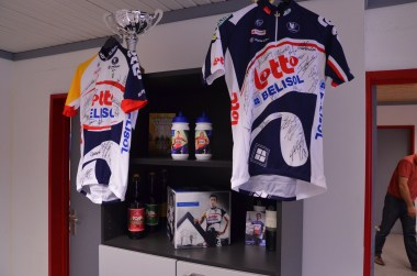 Signed jerseys and collectibles in the office