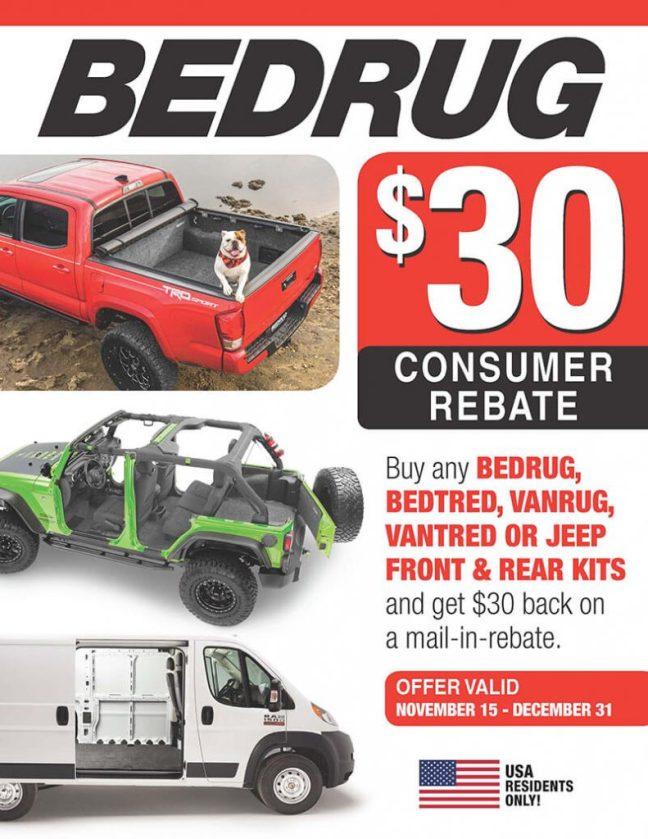 BedRug Promotion: $30 Rebate on Front and Rear Kits